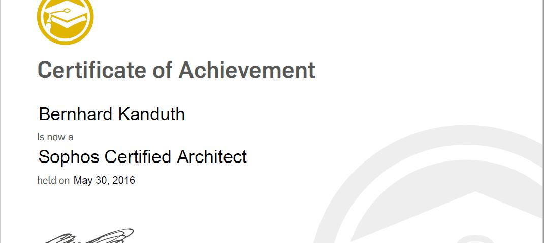 Neue zertifizierung sophos utm certified architect for Certified architect